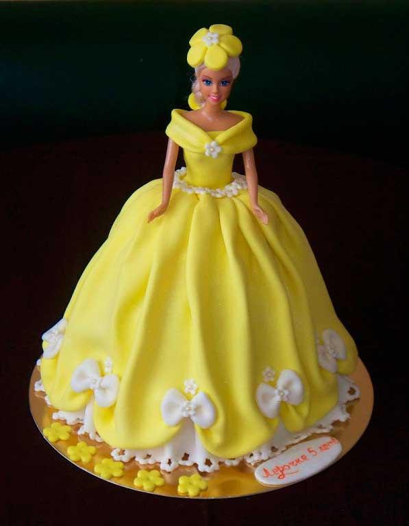 Как сделать торт кукла из мастики